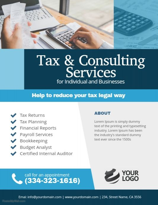 Tax Consulting Services Flyer Poster Template Tax Consulting Tax Refund Accounting Services