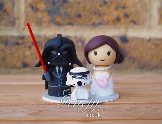 Darth Vader groom and bride and Stormtrooper dog wedding cake topper by Genefy Playground https://www.facebook.com/genefyplayground: