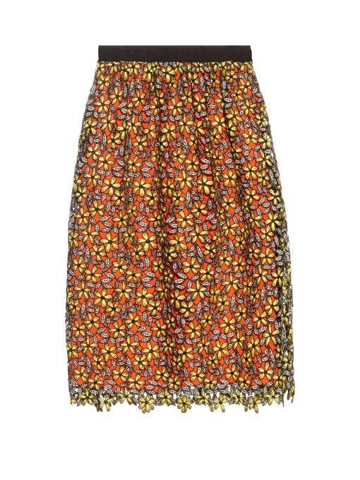 SELF-PORTRAIT Daisy Guipure-Lace Midi Skirt. #self-portrait #cloth #skirt