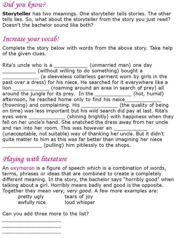 Worksheets English  Short Stories Grade 6 grade 6 reading lesson 19 short stories the storyteller 6
