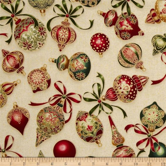 Holiday Flourish Metallic Ornaments Holiday Cream from @fabricdotcom  Designed by Peggy Toole for Robert Kaufman, this cotton print fabric is perfect for quilting, apparel and home decor accents. Colors include cream, red, green and gold. Features gold metallic accents throughout.: