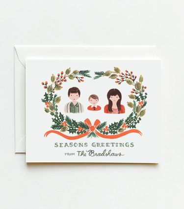 """Customized Christmas cards with illustrated portraits of the family. Price """"available upon request"""" — code for """"I'll never pay that much."""" But they're awesome."""