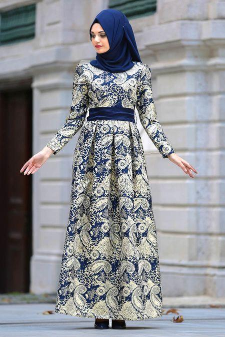 Nayla Collection Desenli Lacivert Tesettur Abiye Elbise 82449l Musluman Modasi Elbise Moda Stilleri