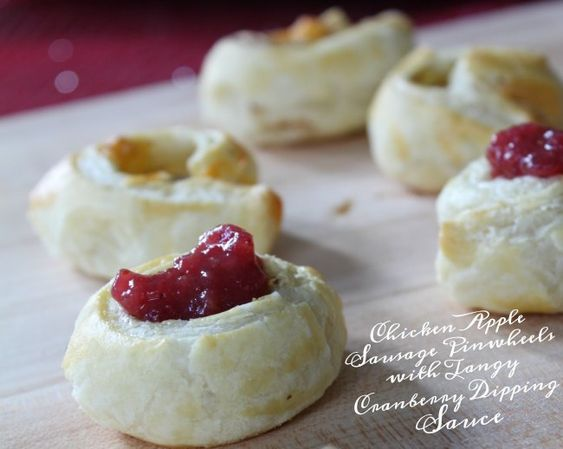 This Chicken Apple Sausage Pinwheels with Tangy Cranberry Dipping ...