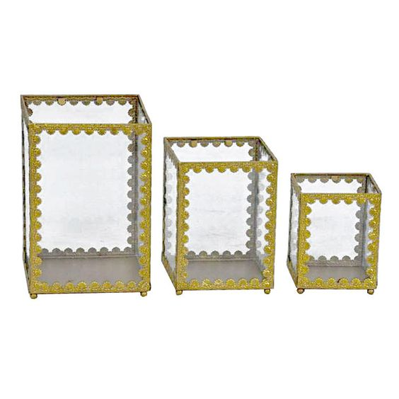 Gold & Glass Small Display Case, 3 Assorted (sold separately)