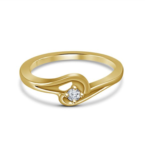 New 14K Yellow Gp 925 Silver Women's & Girl's Classy-Look Solitaire Fashion Ring #br925 #Solitaire