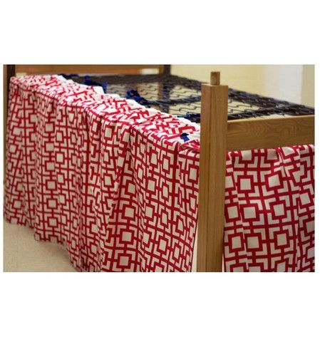 Dust Skirt Panel – Dorm-Decor. Finally a dust skirt designed especially for a dorm bed! No need to pay for tension rods that just don't stay put. Our dust skirts tie onto the mattress springs to give you a perfect length every time. Only buy the number of panels you need. www.dorm-decor.com