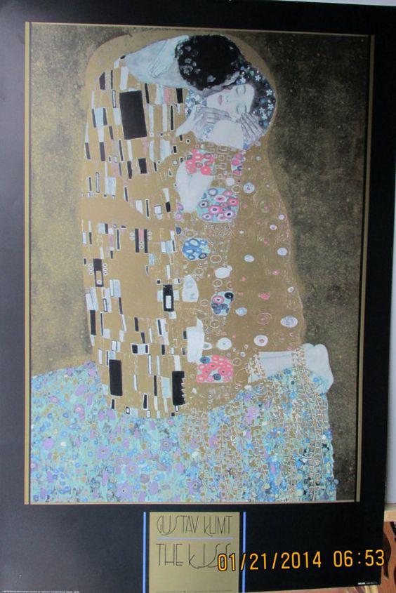 Vintage art print litho poster NOS Gustav Klimpt by WorcesterArt