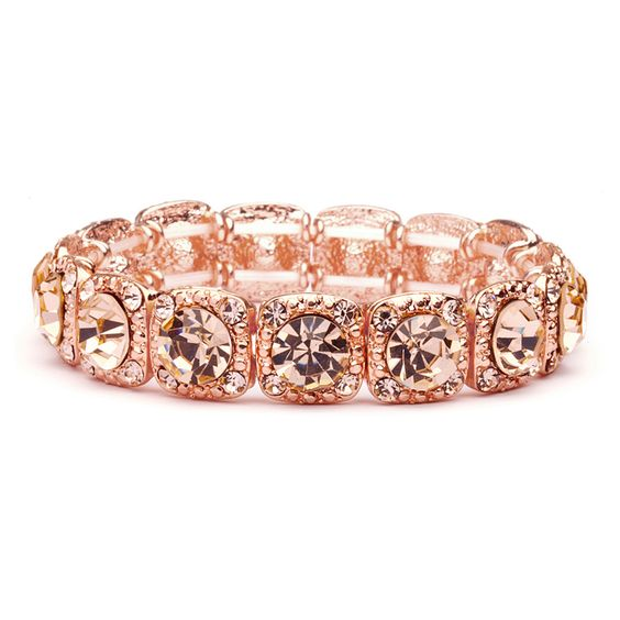 Elegant Rose Gold Crystal Bridesmaid or Prom Stretch Bracelet - for your bridal…: