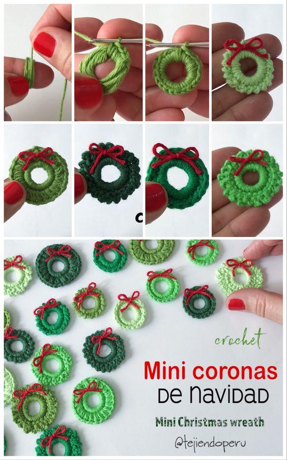 Mini coronas de #Navidad tejidas a #crochet (¡5 modelos!) Video del paso a paso