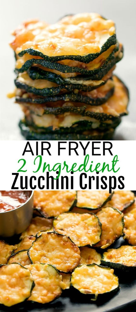 Air Fryer 2 Ingredient Parmesan Zucchini Crisps