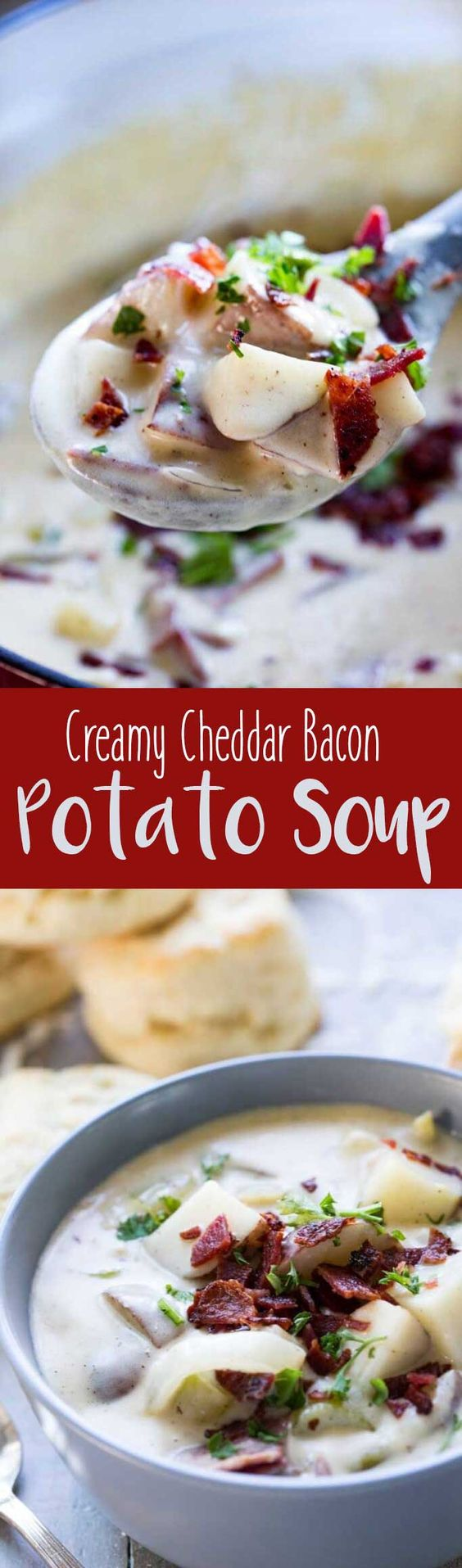 Creamy Cheddar Bacon Potato Soup is the best way to welcome Fall! #ad ...