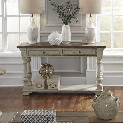 Morgan Creek Antique White Sofa Table In 2020 White Sofa Table Liberty Furniture Sofa Table