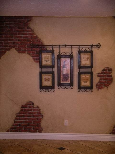 faux brick and stucco wall | Faux Brick with Aged Plaster