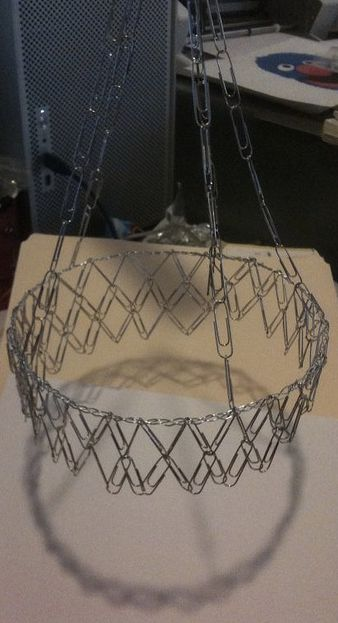 A chandelier made with ... paper clips