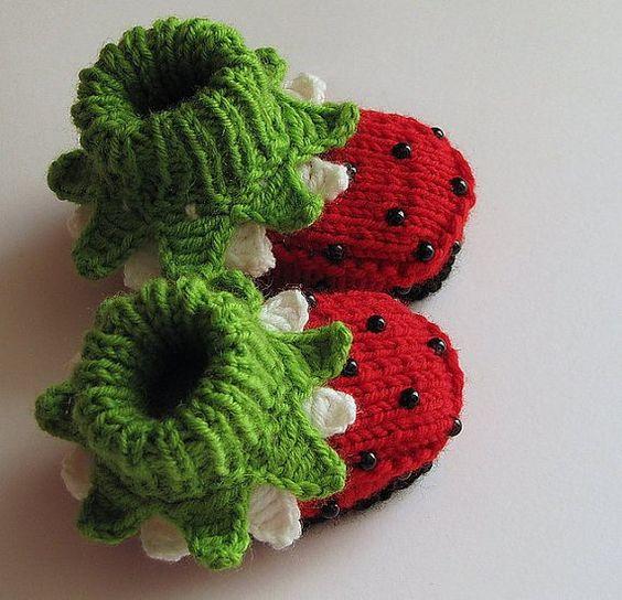 wool ladybug/strawberry baby booties