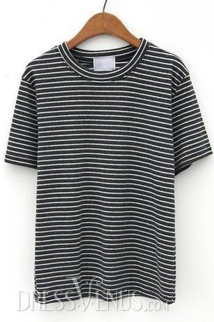 Neckline, Tops , $25.79, Pinstriped Popular Slim Round Neckline Short Sleeves T-shirt