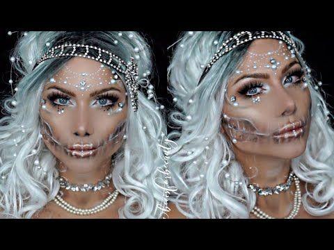 Pearl Skull Ice Queen Halloween Makeup Tutorial Beeisforbeeauty Ice Queen Makeup Halloween Makeup Inspiration Halloween Makeup Tutorial