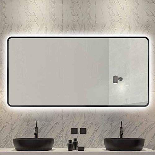 Qz Smart Bathroom Mirror With Round Border Wall Mounted Vanity Mirror Defogging Led Light Mirror In 2020 Wall Mounted Vanity Mirror With Lights Led Mirror Bathroom