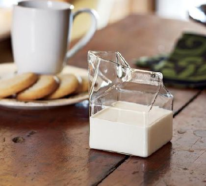 Fred and Friends Glass Milk Carton Creamer