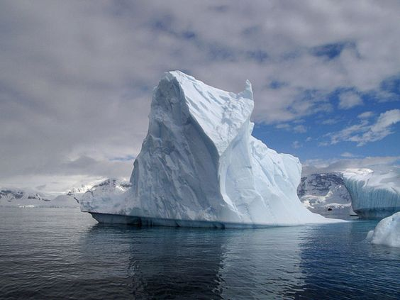 An ice castle aground in Antarctica.