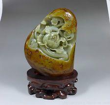 Exquisite Chinese Hetian Nephrite Jade Vivid Phoenix Peony Statue