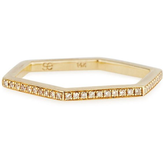 Sydney Evan Hexagon Diamond Stacking Ring (2 008 170 LBP) ❤ liked on Polyvore featuring jewelry, rings, gold, 14 karat gold ring, diamond stackable rings, 14k jewelry, 14k stackable rings and hexagon ring