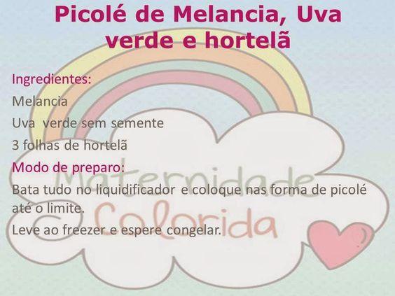 Picolé caseiro de Melancia, Uva verde e Hortelã - Maternidade Colorida