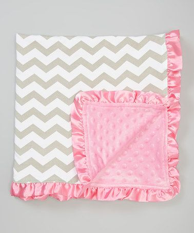 Another great find on #zulily! Pink & Taupe Zigzag Minky Stroller Blanket #zulilyfinds