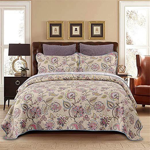 Dodou Queen Size European Gorgeous Floral Pattern Bedspread Quilt Sets Reversible Patchwork Coverlet Set100 Cotton In 2020 Quilt Sets Bedding Quilt Bedding Quilt Sets