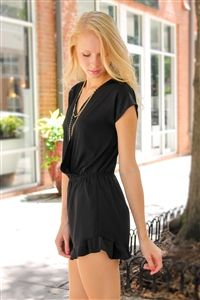 Sincerely Yours Romper in Black. www.Shoplaurennicole.com  #romper #blackromper #ruffleromper #ruffles #cutestyle #pretty