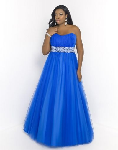Blush Too 5407W Plus Size Ruched Gown
