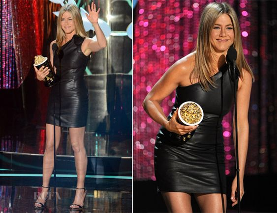 Jennifer Aniston collected her 'Best On-Screen Dirtbag' award at the 2012 MTV Movie Awards