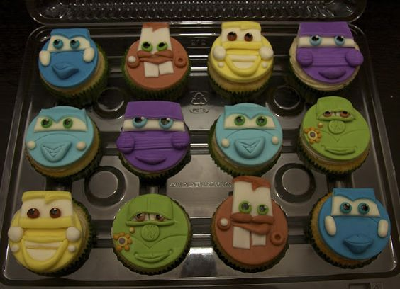 """Vanilla Cupcakes based on the characters from the Disney movie """"Cars"""" created by """"Baked in Vancouver"""""""