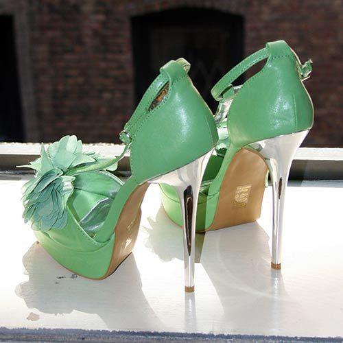 Aleida.net: Promise Flow Green Womens T-Strap Platform Sandals