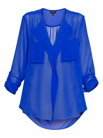 ...sheer blouse in cobalt blue...a must have closet staple!  {this color mixes perfectly with SO many other colors!}