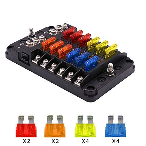 12 Way Fuse Block Blade Fuse Box Holder 12 Circuit Car Ato Atc Fuse Block Waterproof With 20pcs Fuse Led Indicator Prote Fuse Box Led Indicator Protection