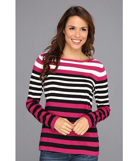 Jones New York L/S Boat Neck Striped Pullover