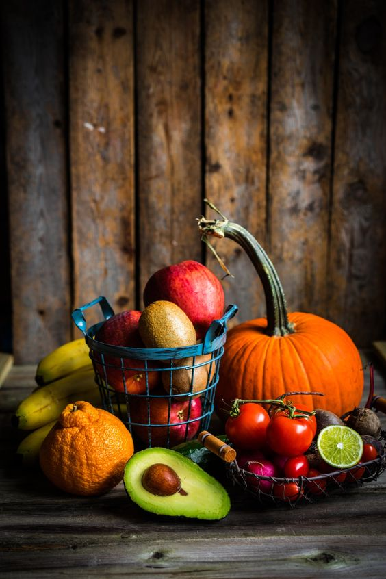 Fruits and vegetables on wooden background - Fruits and vegetables on wooden background