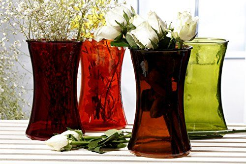 VMore Medium Glass Flower Vase in Tall Round Flared Shape Multicolored Orange Red Green Brown 8inch Tall For Home Decor Wedding Party Celebration Set of 4 1 for each color *** For more information, visit image link.