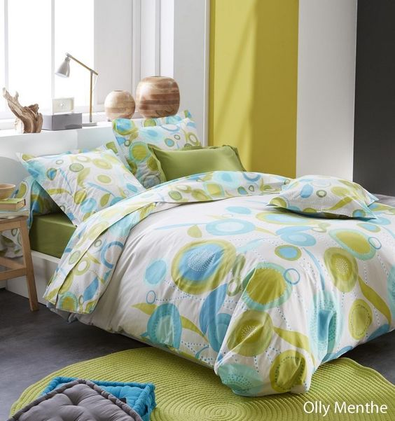 Housse de couette Olly Menthe 140x200 - Tradilinge