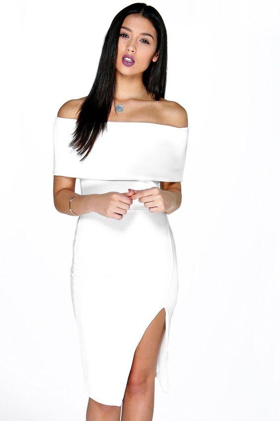 Asia Oversized Off The Shoulder Side Split Midi Dress at boohoo.com: