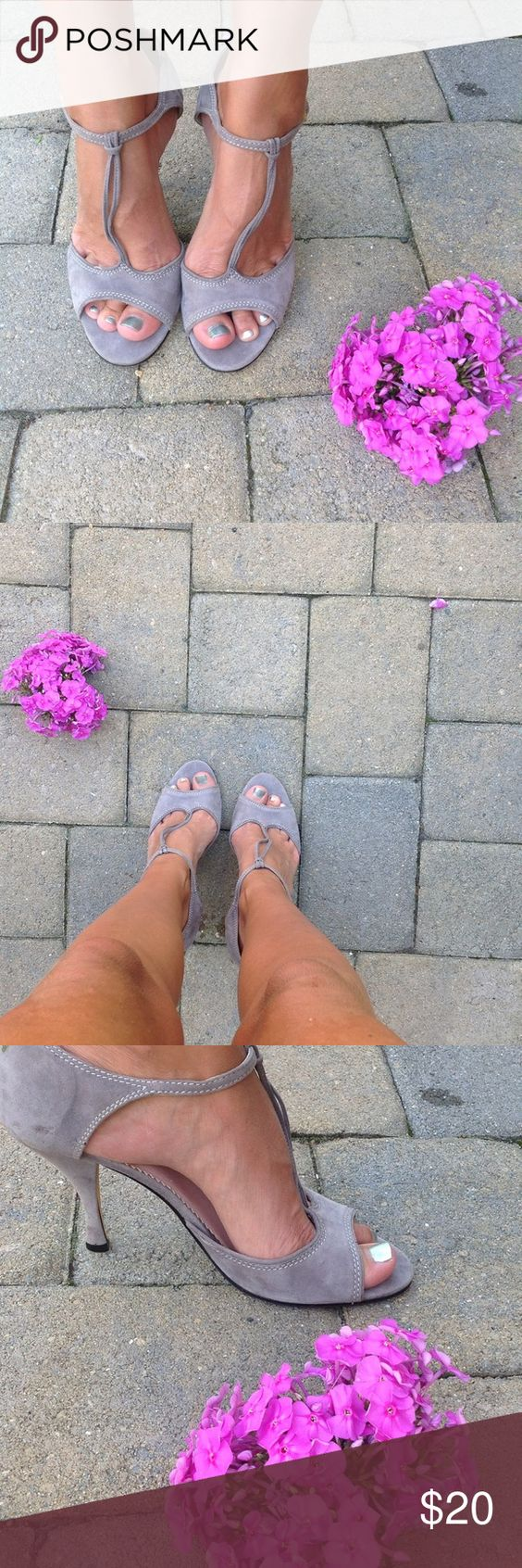 Grey Suede MaryJanes In great condition....wicked cute. Shoes Heels
