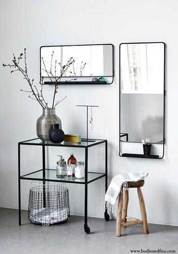 Black framed Mirror with shelf