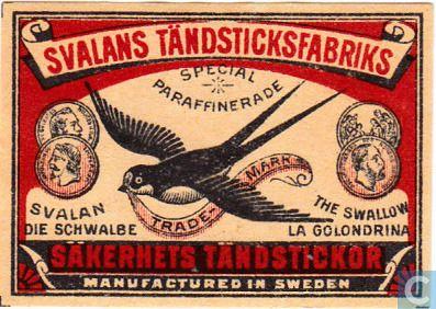 Svalans Tändstickfabriks (Zweden) - Säkerhets Tändstickor (Svalan)
