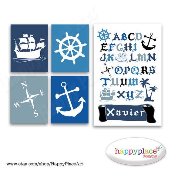 Art du nom de Pirate personnalisé Poster Alphabet par HappyPlaceArt