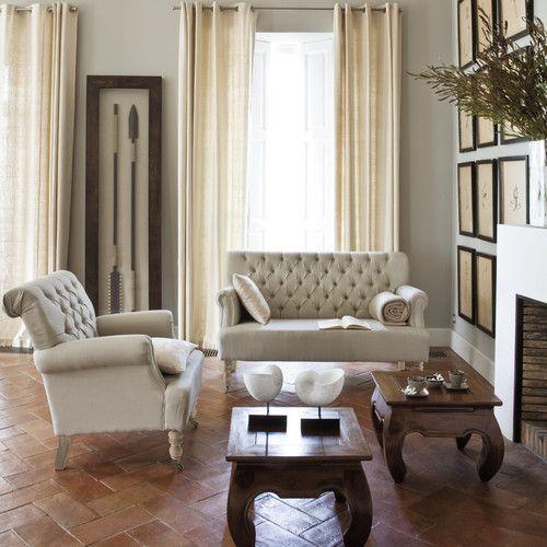 banquette capitonn e 2 places en lin mdm classique pinterest boutons banquettes et canap s. Black Bedroom Furniture Sets. Home Design Ideas