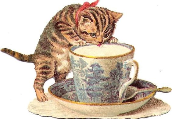 Oblaten Glanzbild scrap die cut chromo Katze tiger cat Tasse cup Helena Maguire: