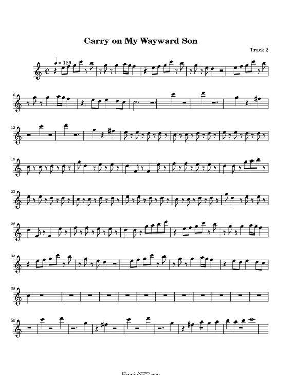 Carry On My Wayward Son Kansas Sheet Music My Dad Instilled A