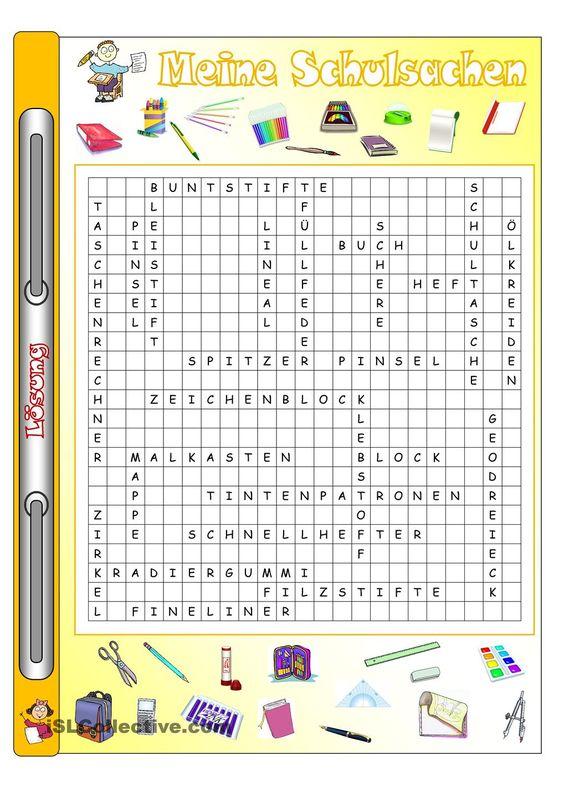 Arbeitsblatt Meine Schulsachen : Meine schulsachen bilder wörter gitterrätsel
